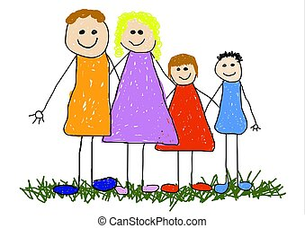Family Unit - Childlike illustrated of a happy family