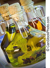 Olive oils - Close up of three olive oil and balsamic...