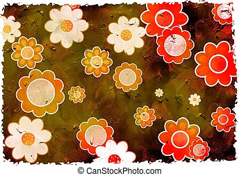 grunge flowers - artistic dirt stained grunge textured...