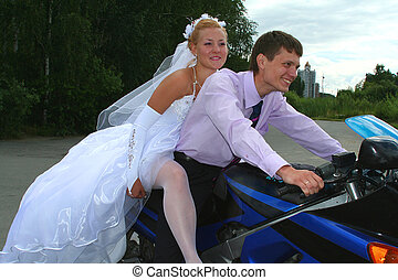 bride and bridegroom - bride bridegroom on the motorcycle...