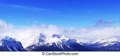 Snowy mountains - Snowy mountain ridges at Lake Louise ski...