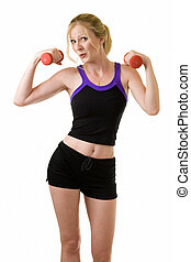 Woman working out - Attractive blond woman in black shorts...