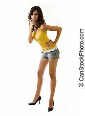 Long leg woman - Full body of an attractive tall brunette...