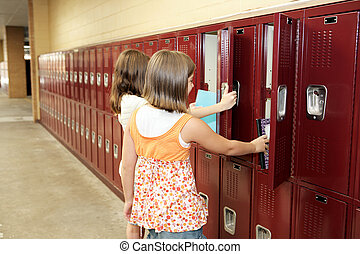 Between Classes - Two middle school students visiting their...