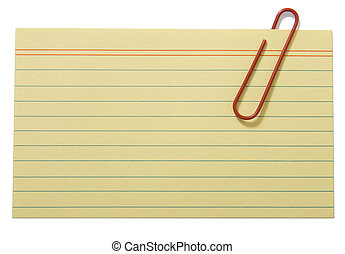 Yellow lined paper - Yellow lined cards fastened with a clip