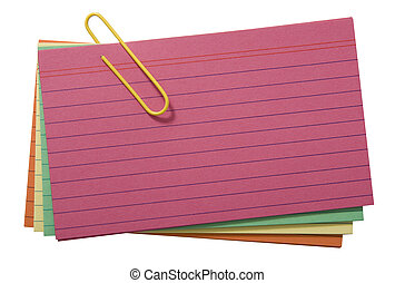 Colorful lined cards attached with yelllow clip