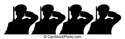 salute - the silhouette of 4 soldiers saluting