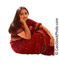 Indian lady in red dress - An beautiful Indian lady in her...