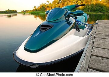 Jet Ski Secured to the dock on a lake