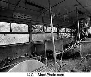 Bus wreck - A black & white photo from inside an old bus...