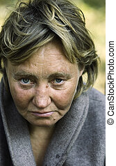 homeless woman - photo shows one of social problem - poverty...