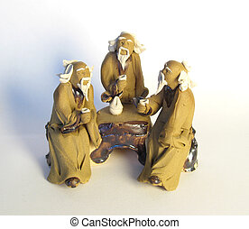 Three oldmans - Figuline of three dao oldmans with mugs