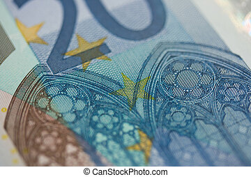 20 Euro Note - A close up shot of a 20 Euro note