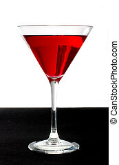 red cocktail on a black and white background