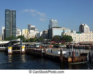 Rio de Janeiro ferry boat station, with downtown skyline on...