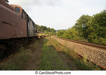 train and tracks - vintage train locomotive and railroad...