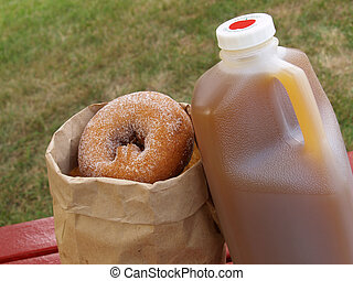 apple cider and donuts - a half-gallon of apple cider...