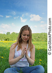 girl praying   - young girl praying