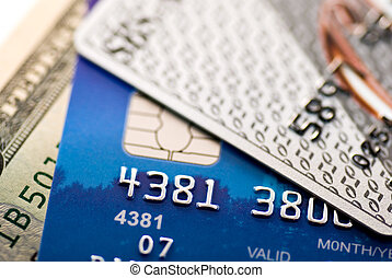 credit cards - Dollar bill and some credit cards