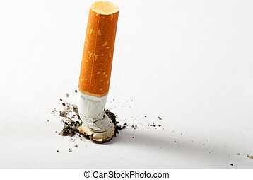 stub of cigarette - Stop smoking background with copy-space...