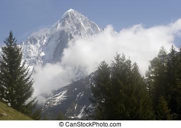 Mont Blanc - View of Mont Blanc mountain range from Parc de...