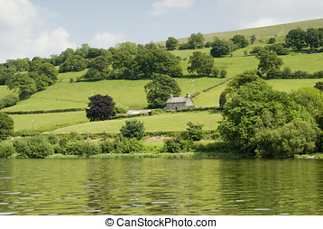 Farmland in Wales - View across farmland in Wales from Lake...