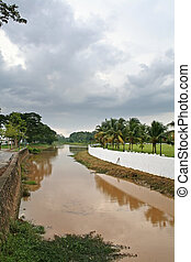 Muddy river - A muddy tropical river in Malaysia with clouds