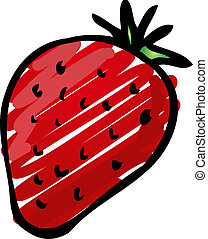 Strawberry illustration - Sketch of a strawberry Hand-drawn...
