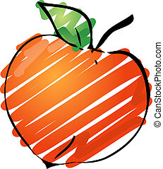 Peach illustration - Sketch of a peach Hand-drawn lineart...