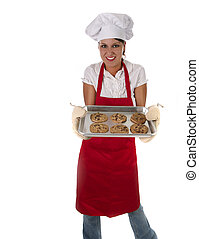 Woman in Apron Baking Cookies - Woman Baking Chocolate Chip...