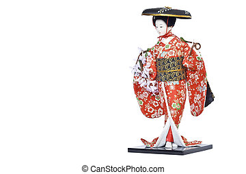 Japan doll - Isolated image of japanese porcelain geisha...
