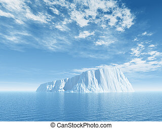 ice - Iceberg against blue cloudy sky - 3d illustration