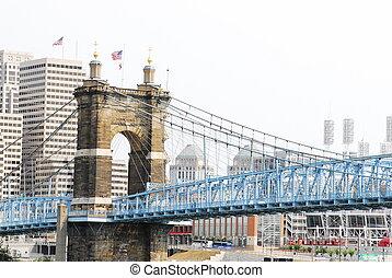 suspension bridge - Cincinnati\\\'s historical suspension...