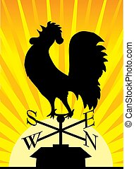 Weathervane Rooster - Black silhouette of a rooster...