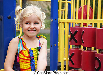 Playground Portrait - Portrait of a five year-old little...