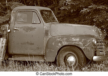 Old Grunge Truck - Heavily scratched and weather-beaten ,...