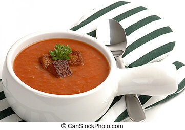 Tomato Soup - Bowl of garden tomato soup with croutons and...