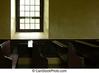Church Window and Pews - Interior of old church.