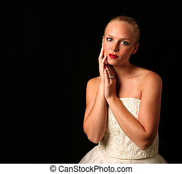 Striking Beautiful Bride Looking at the Camera With Copy Space