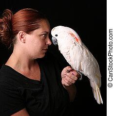Caucasiano, mulher, segurando, dela, Animal...