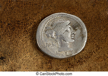 Roman Silver Denarius Coin 89 BC - M Porcius Cato Rome Front...