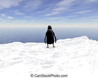 Lonely penguin - Lonely penguin on a floating ice floe in...