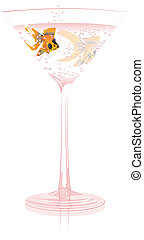 Champagne - A goldfish swiming in pink champagne