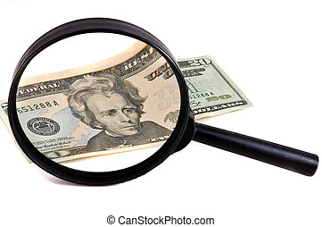 glass with money - magnifying glass with money