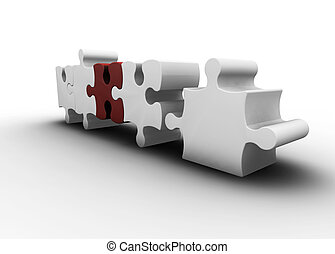 Puzzle pieces - 3D render of one red puzzle piece amongst...