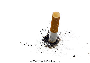Stop smoking background with copy-space - stub of cigarette...