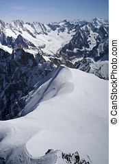Mont Blanc - View of Mont Blanc mountain range from Aiguille...