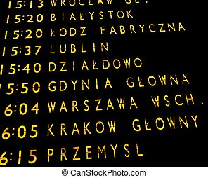 train departures board - Trains departures board at the main...