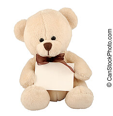 Teddy with Sign - Cute teddy bear with sign.