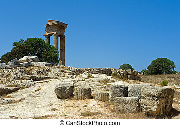 Temple of Apollo - Ruins at mt. Smith, Rhodes, Greece. In...